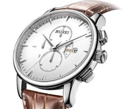 BUREI Herren Armbanduhr Chronograph Edelstahlgehäuse Lederband braun -