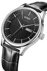 BUREI Herren Tag und Datum Kalender Armbanduhr Präzise Schwarz Quarz Armbanduhr mit schwarzem Lederband -